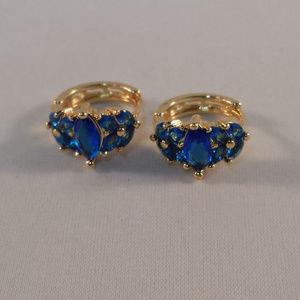 18K Gold Blue Topaz Zircon Flower Earrings GF